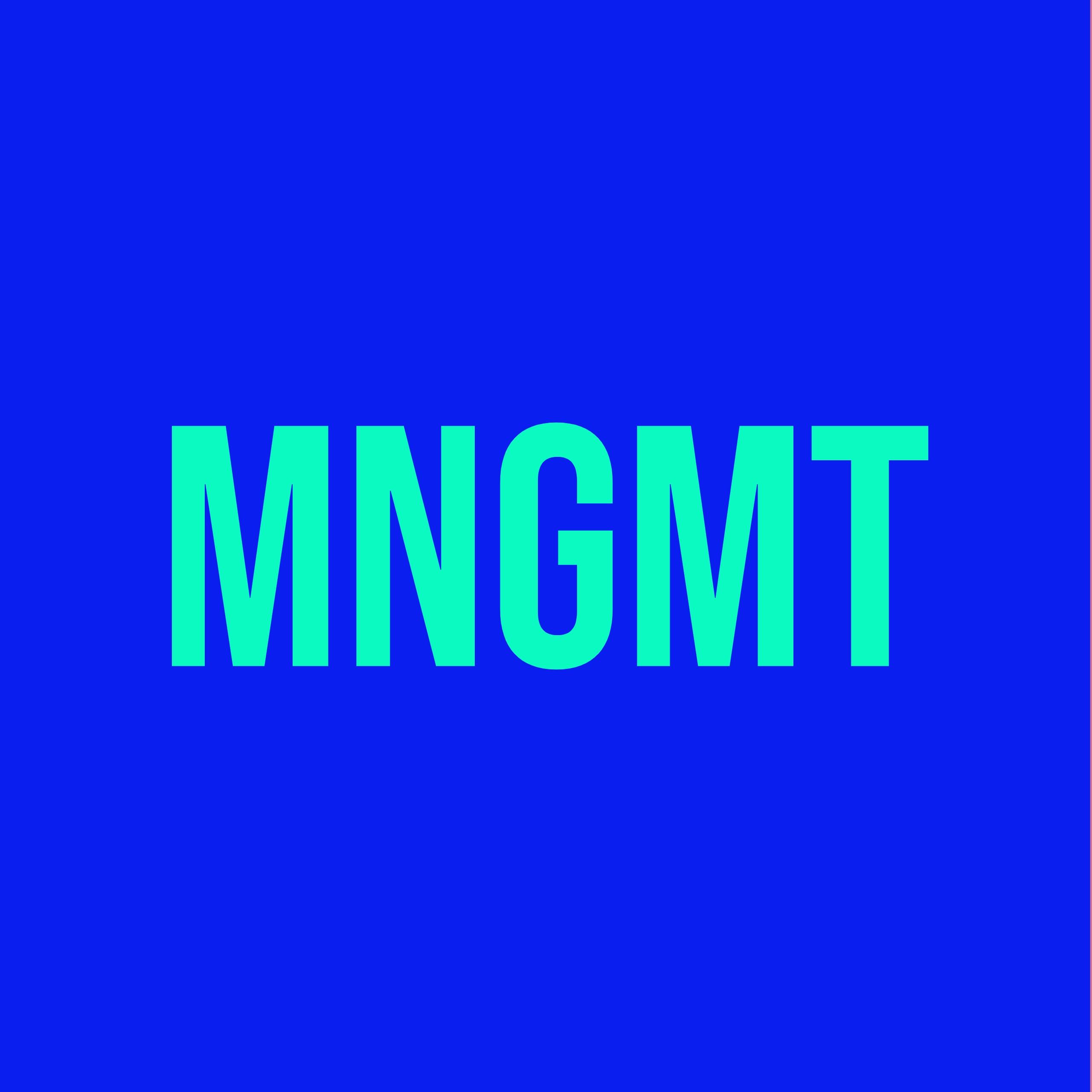 """türkiser Text """"Mngmt"""" auf blitzblauem Hintergrund"""