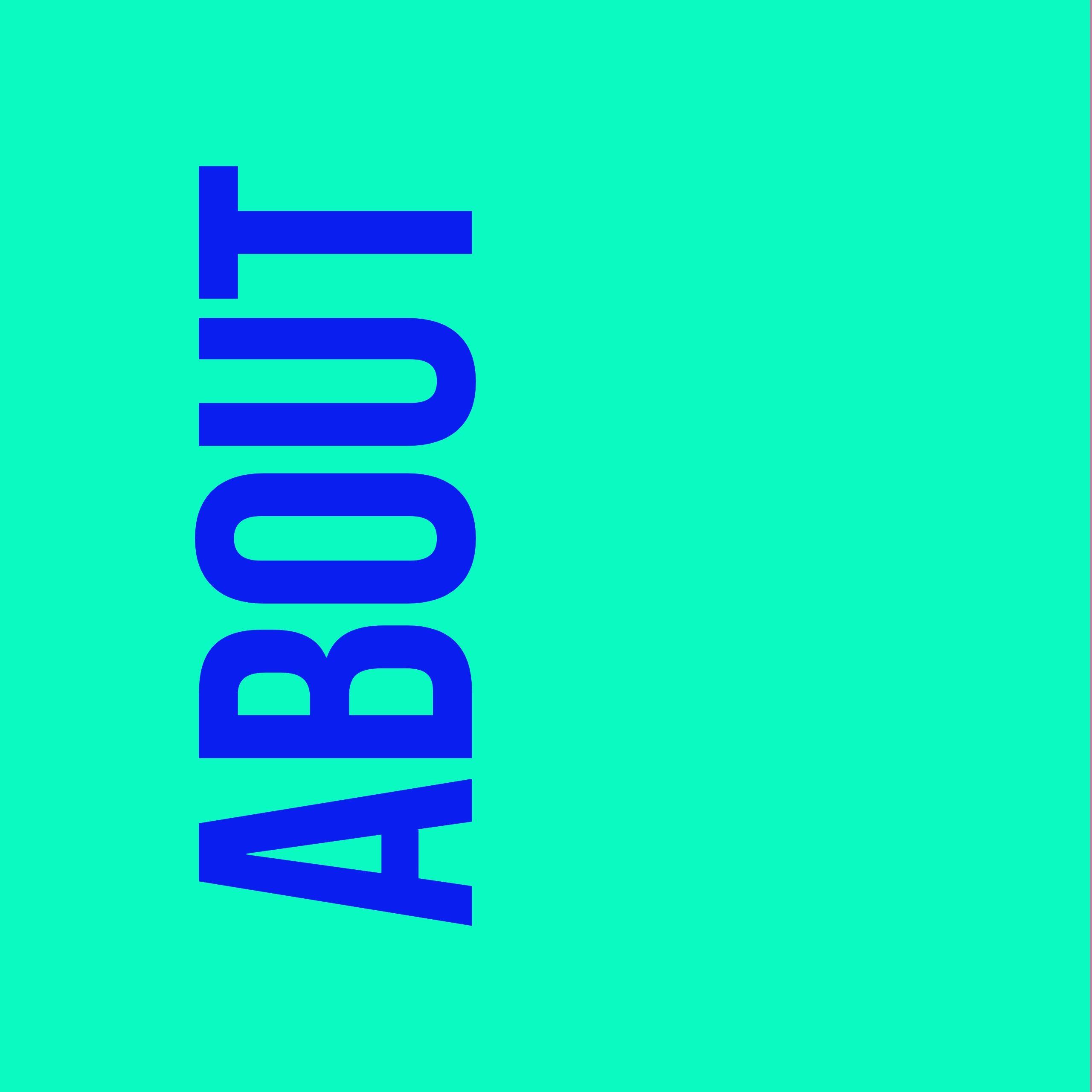 """blauer """"about"""" Text auf grünem Hintergrund"""