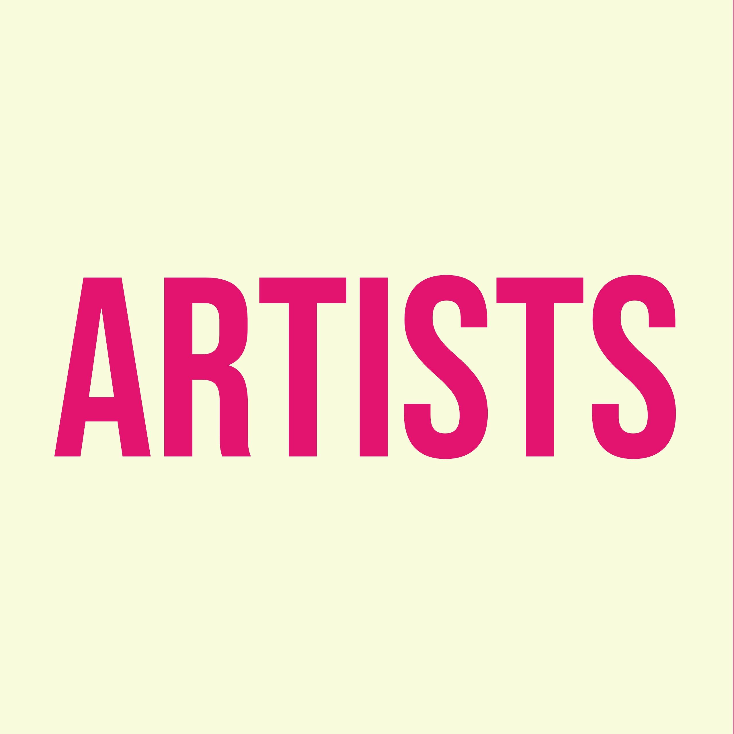 """pinker Text """"Artists"""" auf beigem Hintergrund"""