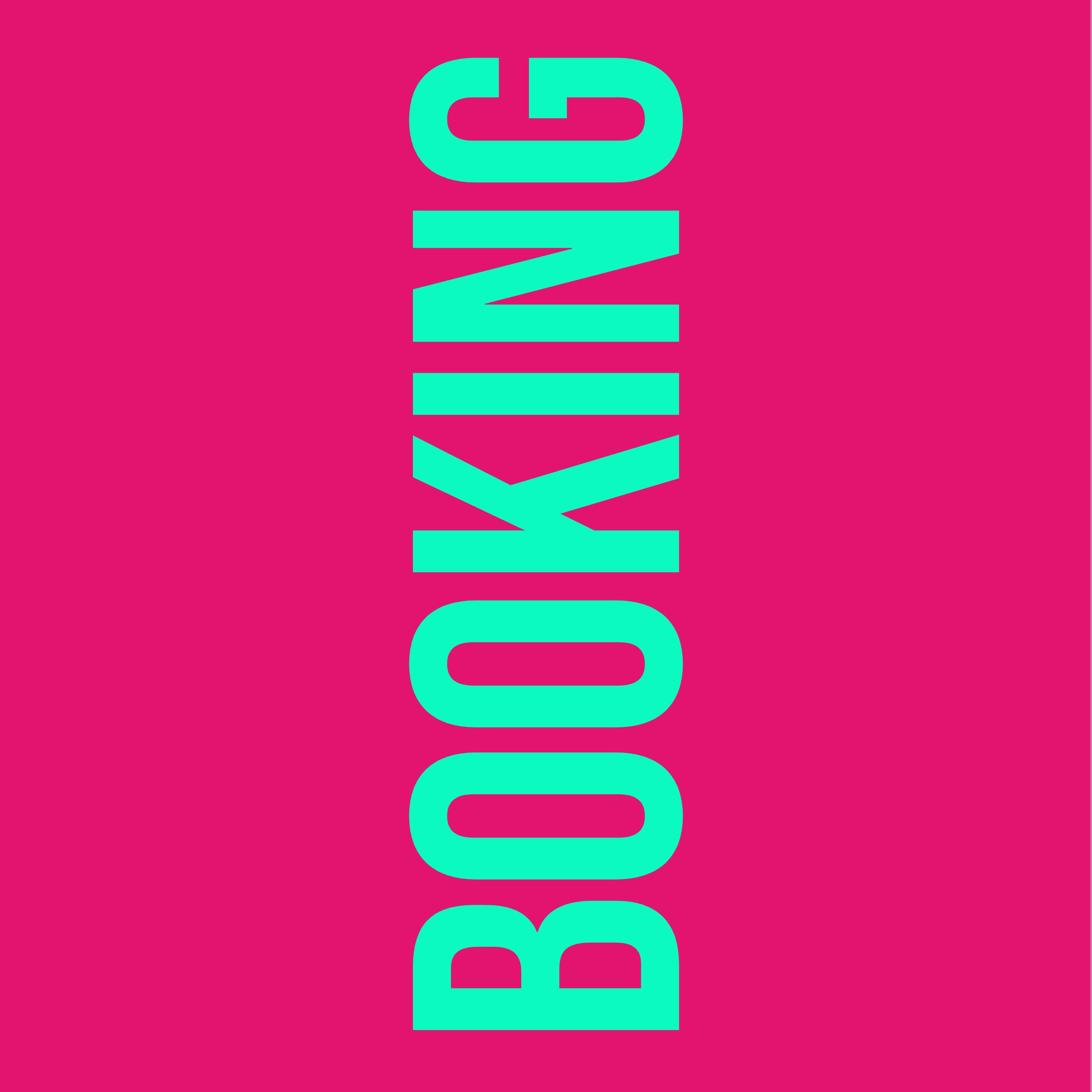 """türkiser Text """"Booking"""" auf pinkem Hintergrund"""